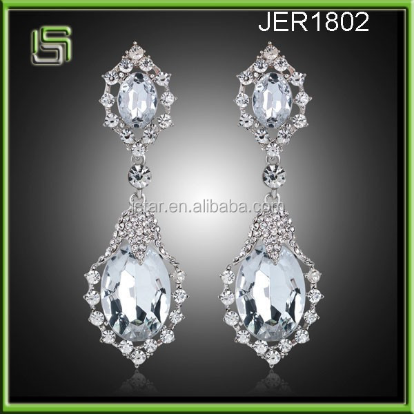 Trendy glass stone long earrings