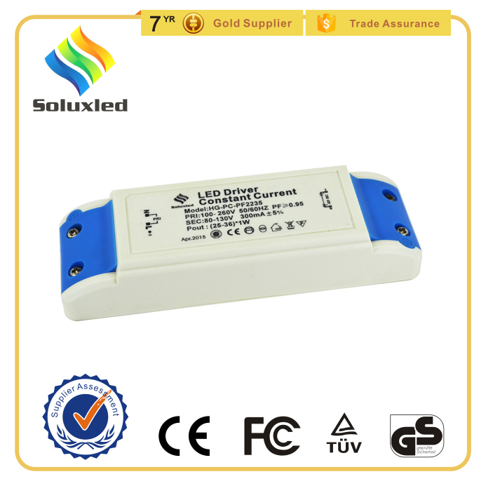 25-36*1W 300mA LED Power Supply With CE Certification, LED Down Light Driver, LED Ceiling Light Driver