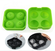 4 Grid Cube Ice Silicone Ice Cube Tray With Lid
