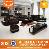 SUMENG Big Chaise sofa set new designs 2013 with LED Light