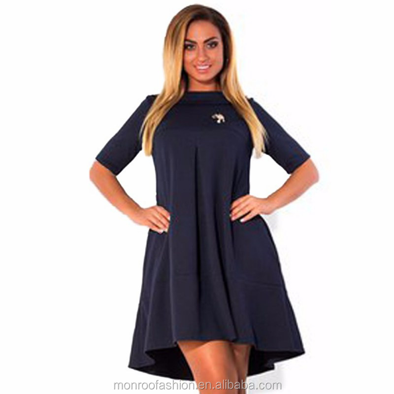 monroo Autumn Winter A Line Dress Women Cotton Loose Above Knee Half Sleeve Party Dress Plus Size