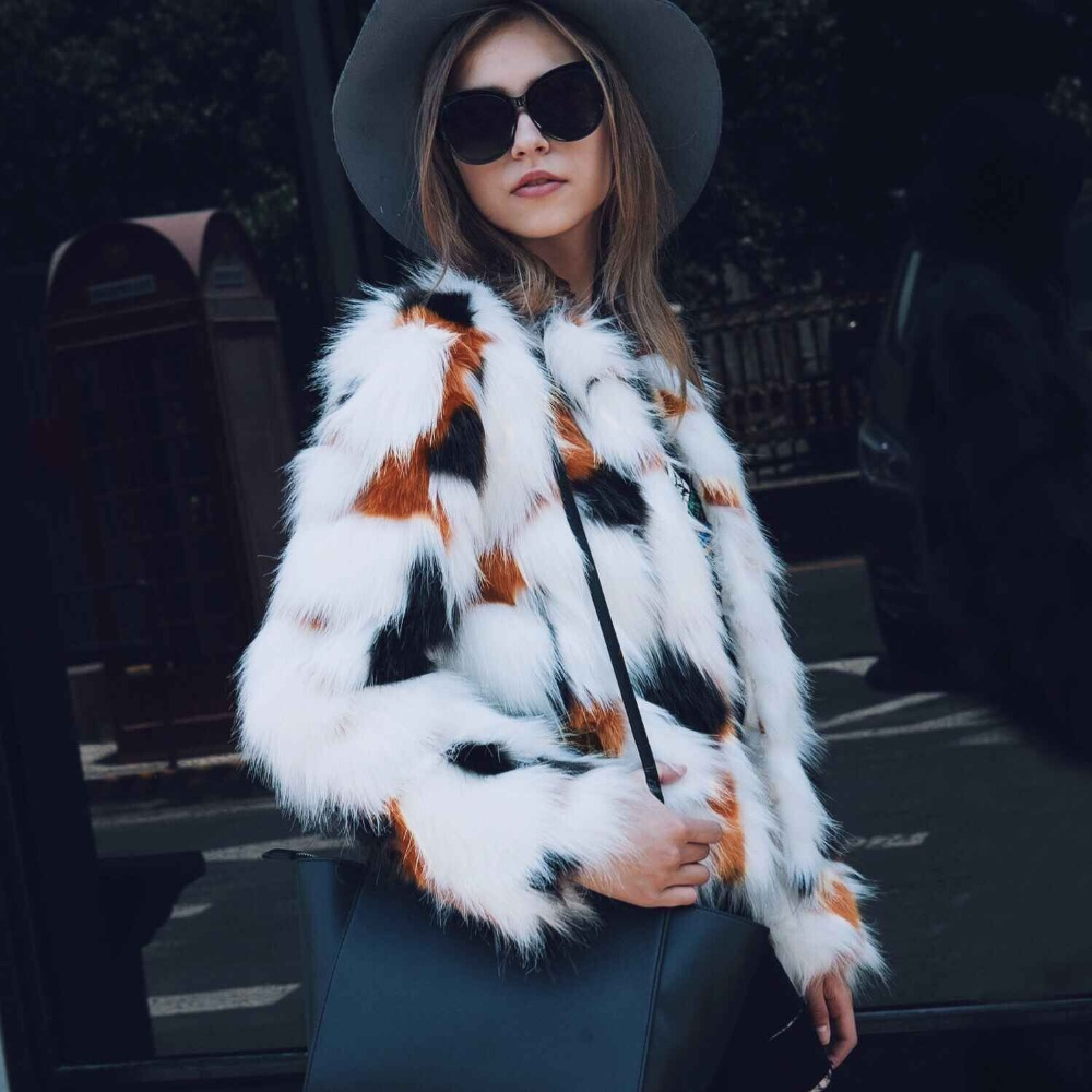 2017 new design stylish overcoats Women Casual Mix color Winter Warm Ladies faux fur Coat wholesale