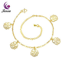 Jenia 18k Gold Plated Jewelry Long Chain Anklet Lady Style Charm Link Anklet