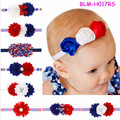 Wholesale Girls' Hair Accessories Fashion Stretch Elastic Shabby Chic Flower Rhinestone Baby Headband 4th of July Headband