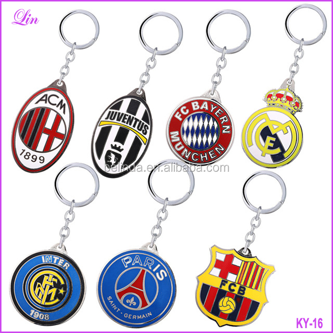 Key chain Football Club Key Chain Crown Metal Key Rings For Women Men Car Keychain
