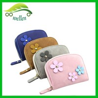 Flower application clear wallet felt coin purse for girl