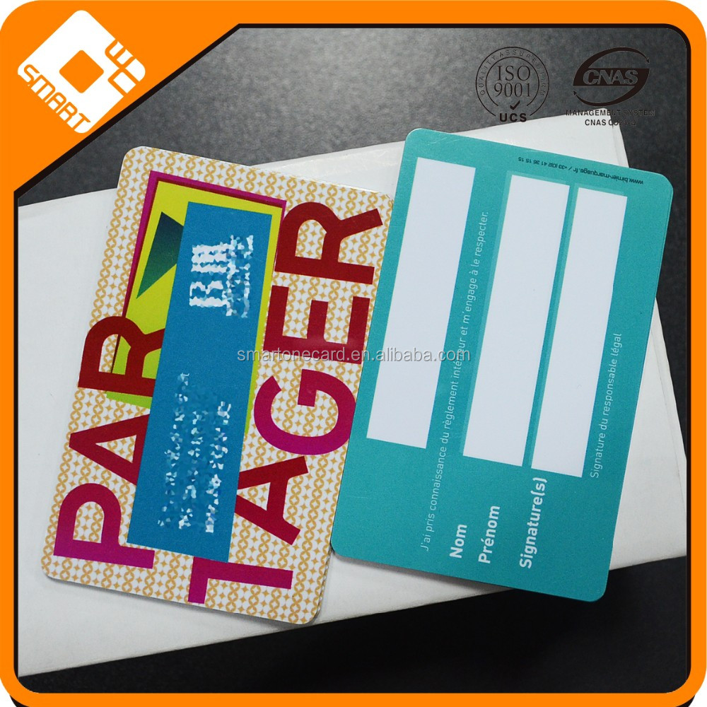 Double Sided Printing Hot Stamping waterproof CR80 PVC Signature strip card