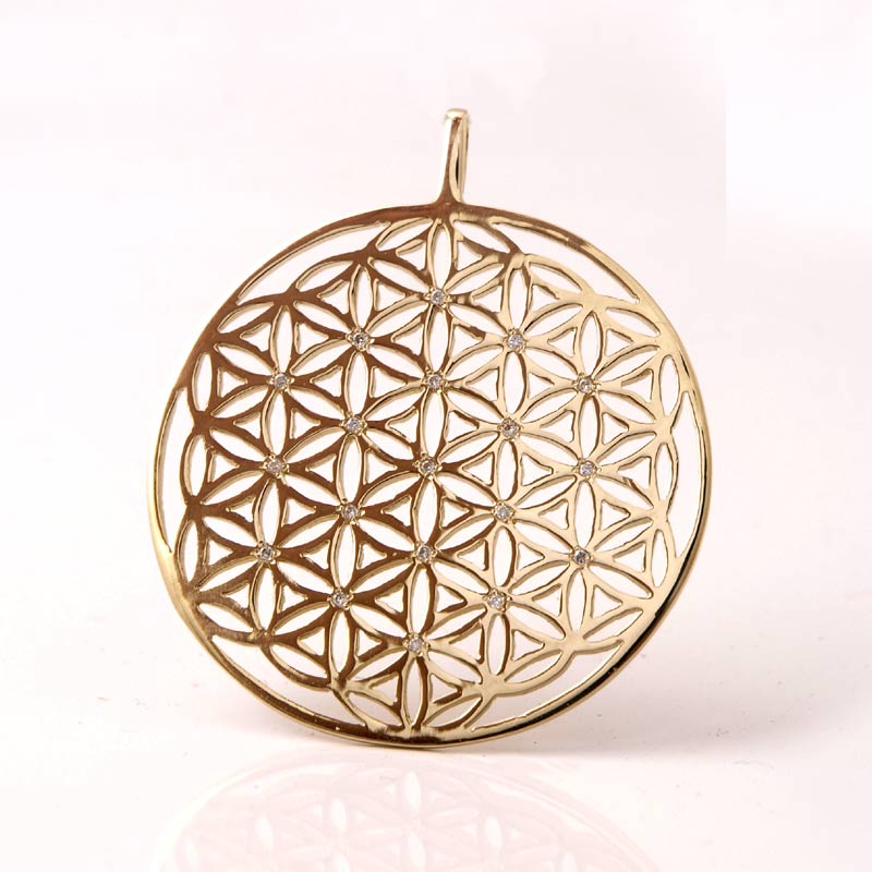 Best price gold color stainless steel CZ stone flower of life pendant for healing