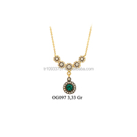 14K Solid Gold Ottoman Fashion Drrop Emerald Charm Necklace