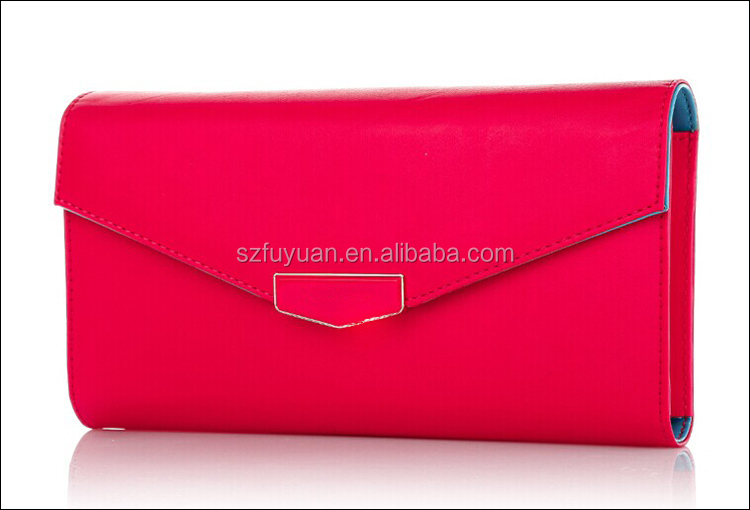 2016 hot sell fashion pink envelope clutch bag with long gold metal strap