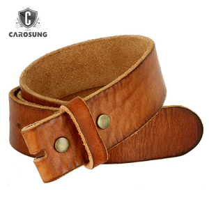 Top Quality wholesale oem vegetable tanned full grain calf leather belt strap with snap system for interchanging buckle