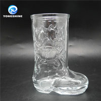 Boot shaped glass drinking cup