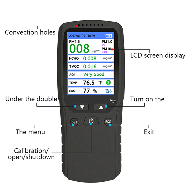High-precision Air Quality Detector  Portable Hand-held test PM2.5 PM1.0 PM10  HCHO TVOC