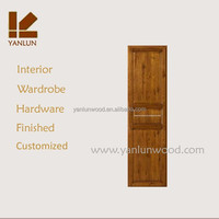 2015 best sale track and handle hardware solid teak wood wardrobe sliding door system