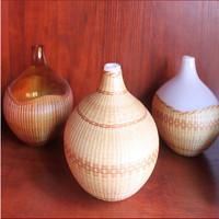 Custom handmade bamboo arts series round bottle glass vase
