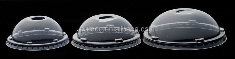 disposable clear plastic round dome lids for cold beverage hot drink cups