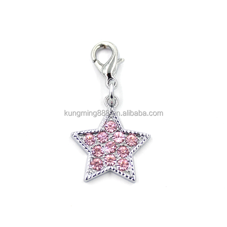 2016 Fire sell silver star shapd pink crystal pendant charms