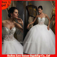 WD1184 Strapless Shining Crystals Lace Beaded Sweetheart Neckline Boning Bodice Sparkle See Through Corset Wedding Dresses