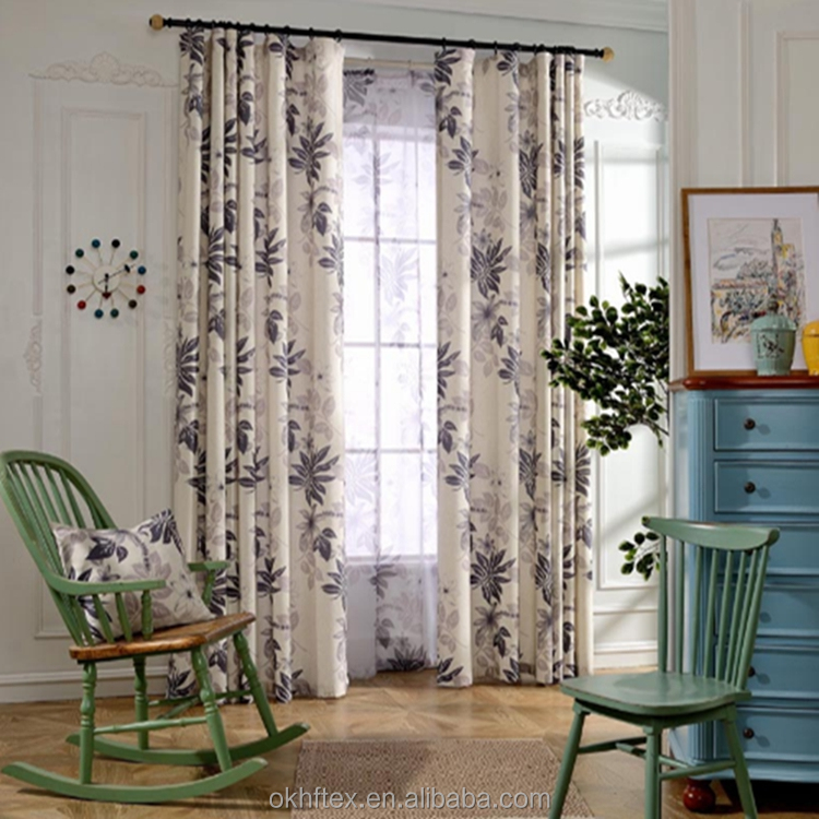 High quality Leaves Printed Cotton blackout Curtains Window Drapes
