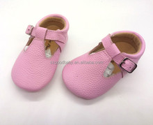 china manufacturer t strap kids girl t strap mary jane genuine leather baby shoes