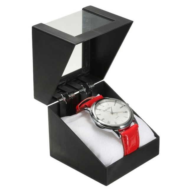 Black Wrist Watch Box 7.3x7.3cm Plastic Earring Display Storage Holder Jewelry Transparent Case Walentine's Day Anniversary Gift