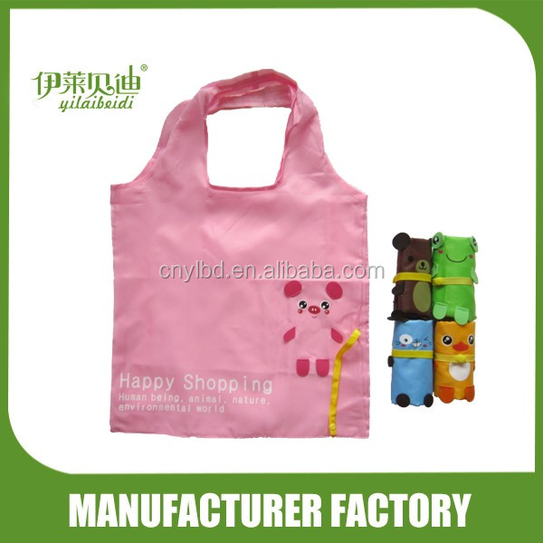 Wholesale Supply Stock Pink Pig Animals Shaped Folding Shopping Bag For Promotion/Custom Foldable Reusable Shopping Bag Factory