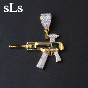 Jewelry Men'S Fashion HipHop Style Uzi Gun Shape Gold Pendant 925 silver gun pendent