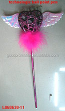 custom angel wing heart fluffy ball-point pens for kids back to school preschool stationery and private label and brand
