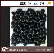 Polished Black Pebble Stone Tiles For Bathroom