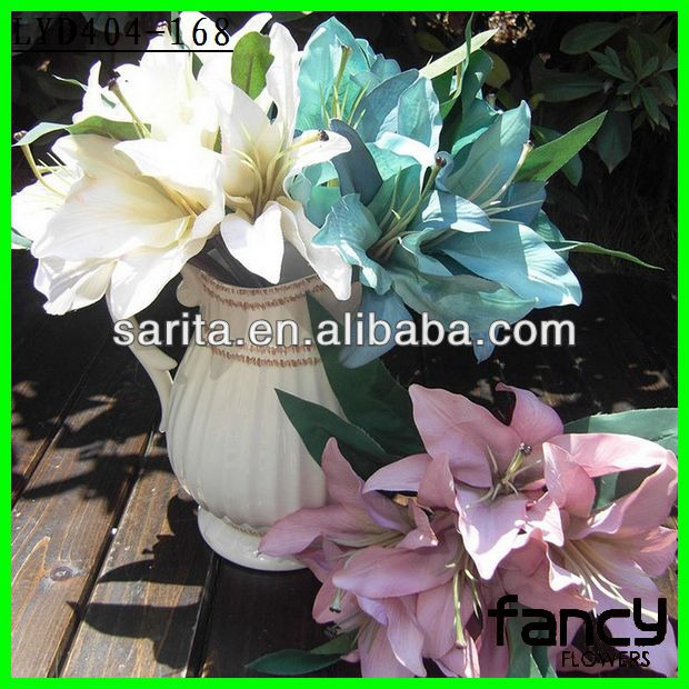 wholesale 6 heads artificial lily wedding bouquet flower