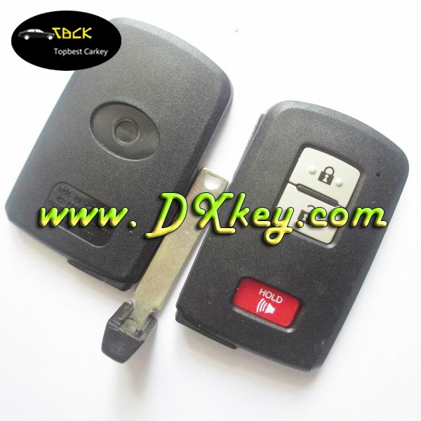 1 buttons smart auto remote key fobs for Toyota Crown key cover in black with emergency key blade with sliver buttons