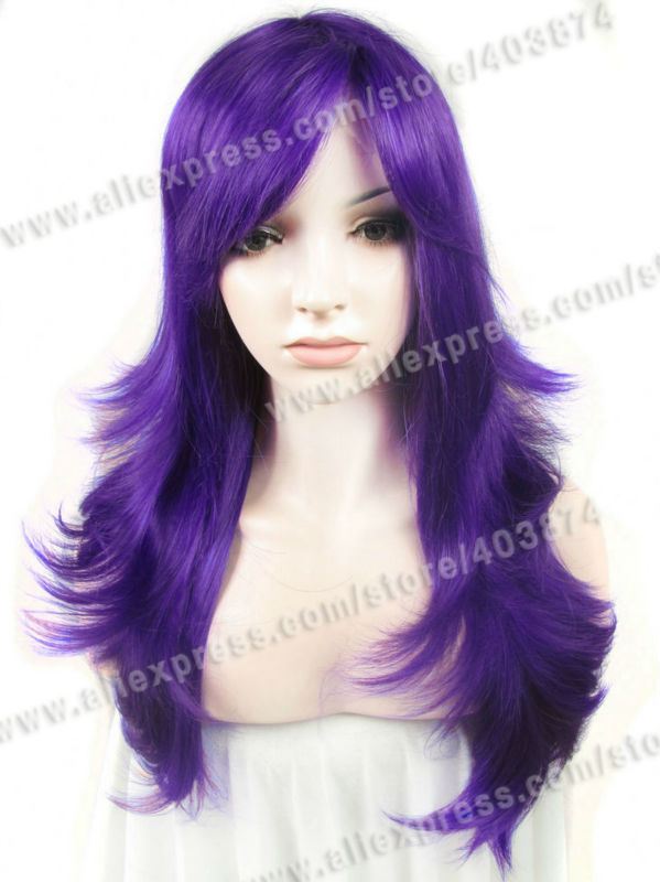 Cosplay Purple Wigs Synthetic lace front wigs Katy Perry Wigs with Bangs