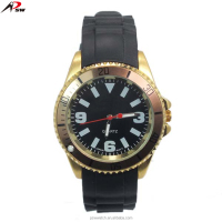 Popular stainless steel back quartz silicone wristwatches