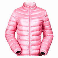 American Clothing Factory Nylon Windproof shiny Goose Feather ultra light bosideng Silver Down Impact Filled Winter Jacket Women