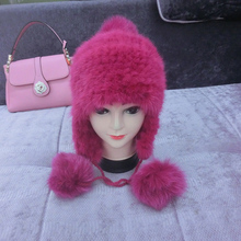 Hot Sale Red Knitted Mink Fur Beanie Hat / Fur Hat Pom Poms