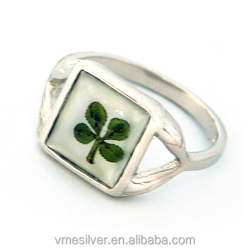 RFC-0932 925 Stylish jewelry Silver Square Ring with Four-leaf Clover For Gift