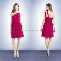 Fuchsia Western Wedding Bridesmaid Dress 2014 One-Shoulder Pleated Top Flowing Skirt Chiffon A-Line Short Prom Party Gown NB0720