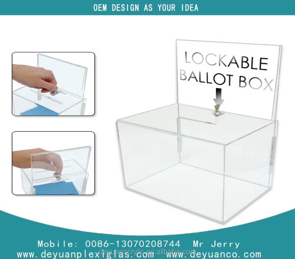 Wholesale black acrylic donation box with lock,plexiglass lucite fund-raising box