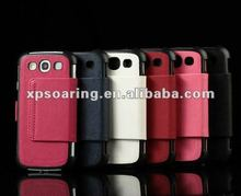 Cross-pattern wallet lleather case for Samsung Galaxy S3
