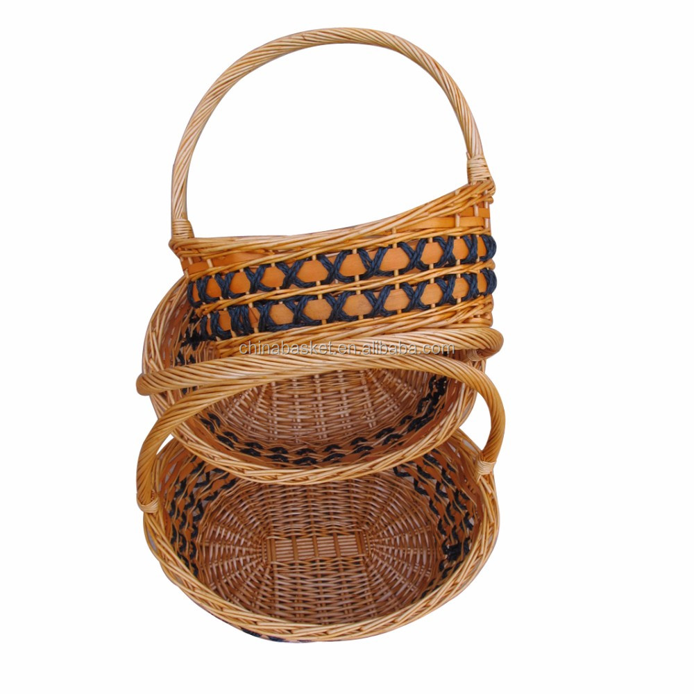 natural wicker woven gift basket with handle