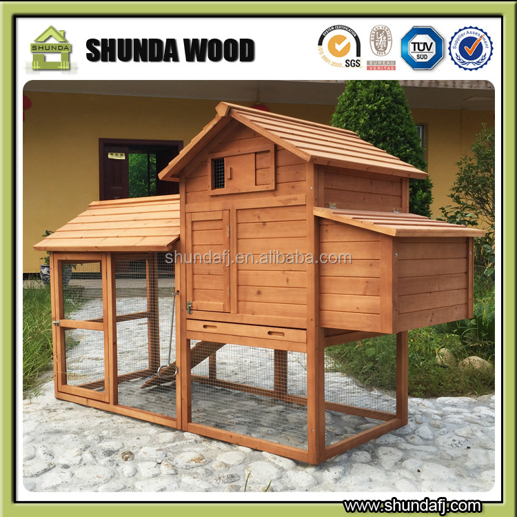 Natural fir wood chicken coop