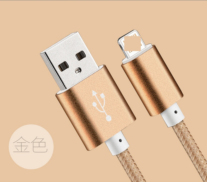 High quality 1m 2m 3m fast charging metal head nylon braided usb phone charging cable for iphone 5 5s 6 6s