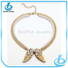 Fashion two layer chain rhinestone angel wing necklace