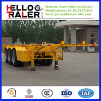 2 axle common suspension 20feet 12m skeleton flatbed container trailer