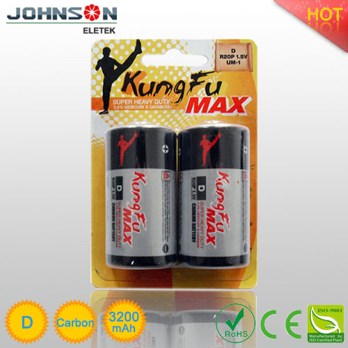 high capacity power d r20p carbon zinc battery