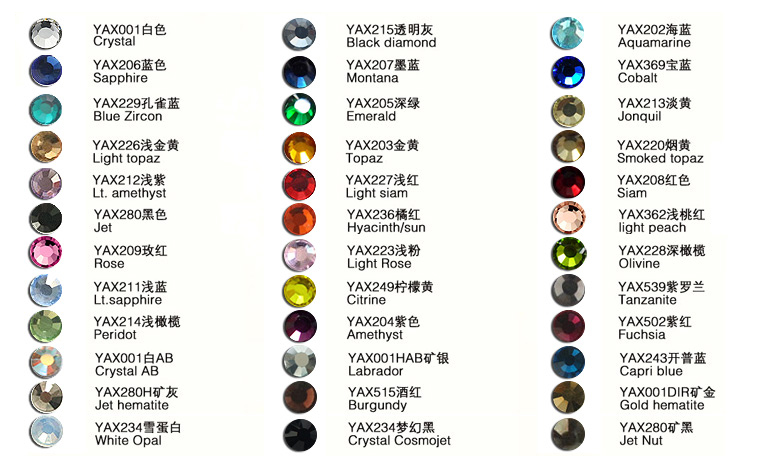 2015 YAX Color Chart of Non Hot Fix Stone 2