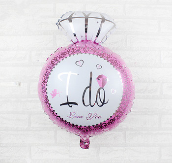 "30 Inch Pink and Blue Ring Shaped Foil Balloon "" i do"" Printed Foil Balloon For Wedding Ceremony and Hen Party Decoration"