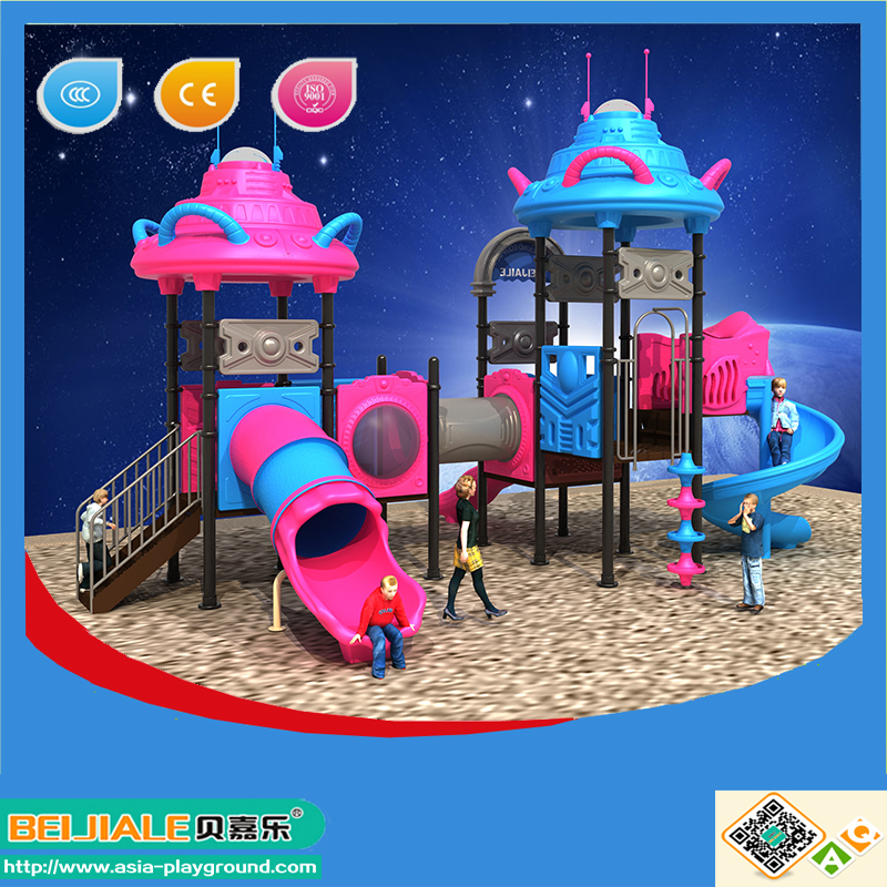 Child space ship serie large commercial outdoor playset with plastic tunnel slide