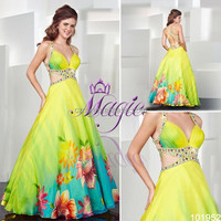 Hot sale spring print ball gown dress chiffon evening dress