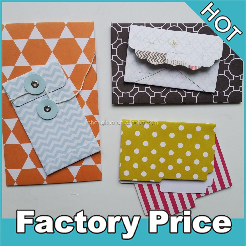 string closure fancy paper envelope folder for kids gift